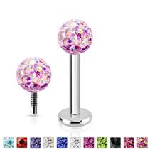 Piercing do brady labreta s krystaly Crystals from SWAROVSKI® 1,2 x 8 mm