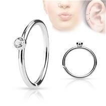Piercing do nosu/ucha kruh s čirým kamínkem