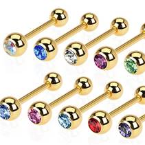 Pozlacený piercing do jazyku - kamínek