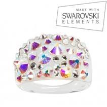 Prsten s krystaly Crystals from Swarovski®, Crystal AB
