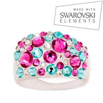 Prsten s krystaly Crystals from Swarovski®, Pink/Turquois
