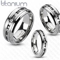 Prsten titan - černé a čiré zirkony, šíře 9 mm, vel. 72