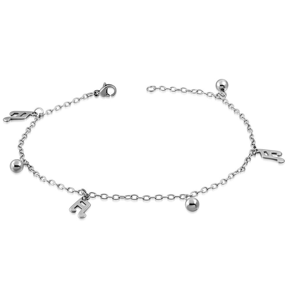 bed146561 Řetízek na nohu s notami a kuličkami | Šperky4U.eu