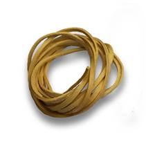 Řezaná kožená šňůrka tm. žlutá, tl. 2 mm, délka 100 cm
