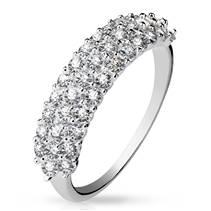 Rhodiovaný prsten se zirkony, vel. 49