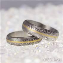 Ručně kované snubní prsteny Damasteel Golden Line - pár