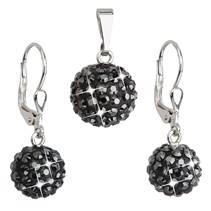 Sada náušnic a přívěšku koule s kameny Crystals from Swarovski® Hematite