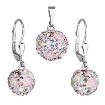 Sada náušnic a přívěšku koule s kameny Crystals from Swarovski® Magic Rose