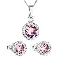 Sada náušnic a přívěšku s kamínky Crystals from Swarovski® Rose