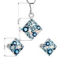 Sada šperků - čtverce s kameny Crystals from Swarovski® Aqua