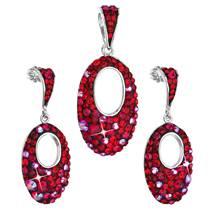 Sada šperků s krystaly Swarovski náušnice a přívěsek červený ovál 39075.3 cherry