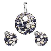 Sada šperků s krystaly Swarovski náušnice a přívěsek mix barev kulaté 39148.3 indigo