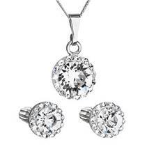 Sada šperků s krystaly Swarovski náušnice a přívěsek růžové kulaté 39352.3 fuchsia