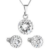 Sada šperků s krystaly Swarovski náušnice, řetízek a přívěsek bílé kulaté 39352.1