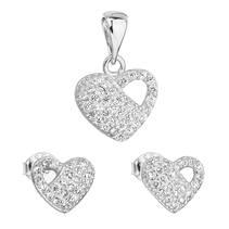 Sada šperků se zirkonem náušnice a přívěsek bílé srdce