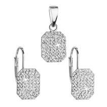 Sada stříbrných šperků obdélníky s kamínky Crystals from Swarovski® Crystal