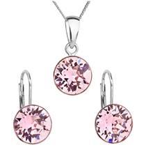 Sada stříbrných šperků s kameny Crystals from Swarovski® Rose