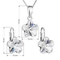Sada stříbrných šperků s kytičkami Crystals from Swarovski® Crystal
