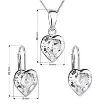 Sada stříbrných šperků se srdíčky Crystals from Swarovski® Crystal