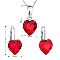 Sada stříbrných šperků se srdíčky Crystals from Swarovski® Siam