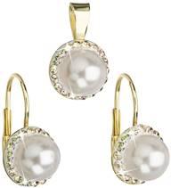 Sada zlacených šperků s perličkami Crystals from Swarovski®