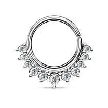 Septum piercing do nosu/ucha kruh s čirými zirkony