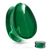 Skleněný plug do ucha slza zelená