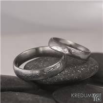 Snubní prsteny Damasteel Prima diamant 1.7mm - pár