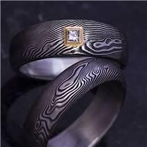 Snubní prsteny Damasteel Prima diamant 2 mm - pár