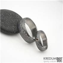 Snubní prsteny damasteel Prima Granát - pár