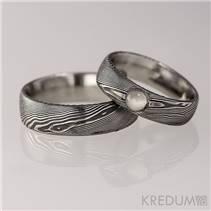 Snubní prsteny Damasteel Prima Měsíční kámen - pár