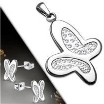 Souprava šperků z chirurgické oceli motýlci