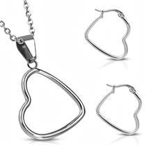 Souprava šperků z chirurgické oceli, srdce