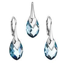 Souprava stříbrných šperků kameny s Crystals from Swarovski® AQUA