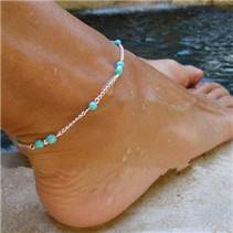 Stříbřený náramek na nohu s tyrkysovými korálky