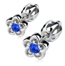 Stříbrné náušnice - kytičky, modrý zirkon