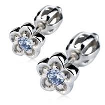 Stříbrné náušnice - kytičky, světle modrý zirkon