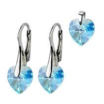 Stříbrné náušnice a přívěšek srdíčka s krystaly Crystals from Swarovski®, Aqua