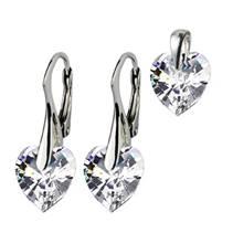 Stříbrné náušnice a přívěšek srdíčka s krystaly Crystals from Swarovski®, Crystal
