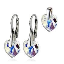 Stříbrné náušnice a přívěšek srdíčka s krystaly Crystals from Swarovski®, Crystal AB