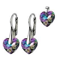 Stříbrné náušnice a přívěšek srdíčka s krystaly Crystals from Swarovski®, Vitrail Light