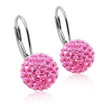 Stříbrné náušnice koule 10 mm s krystaly Crystals from Swarovski®, Rose