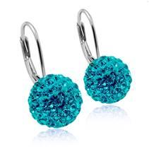 Stříbrné náušnice koule 10 mm s krystaly Crystals from Swarovski®, Turquise