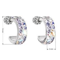 Stříbrné náušnice kruhy s krystaly Crystals from Swarovski®, Violet