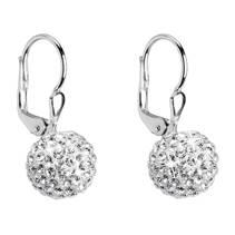 Stříbrné náušnice kuličky s kamínky Crystals from Swarovski