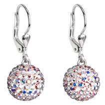 Stříbrné náušnice kuličky s krystaly Crystals from Swarovski® AB
