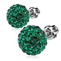 Stříbrné náušnice kuličky s krystaly Crystals from Swarovski®, Dark Green