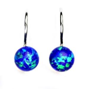 d93fa2ffb Stříbrné náušnice kuličky s modrými opály | Šperky4U.eu