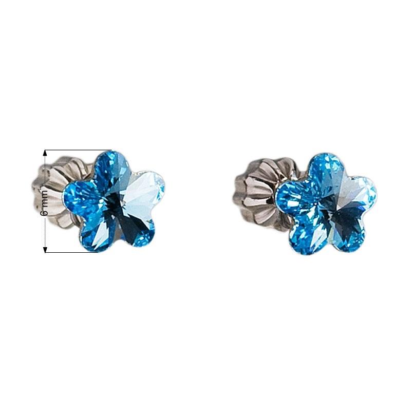 Stříbrné náušnice kytičky Crystals from Swarovski® Aqua  d1e63c3f493