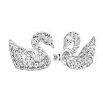 Stříbrné náušnice labutě s krystaly Crystals from Swarovski